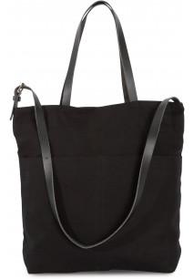 Handbag with leather shoulder strap