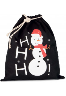 Cotton bag with snowman design and drawcord closure.