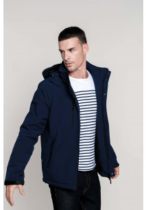 Men's hooded softshell lined parka