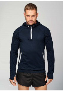 Zip neck hooded sports sweatshirt