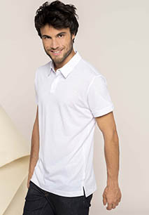 Men's short-sleeved melange polo shirt