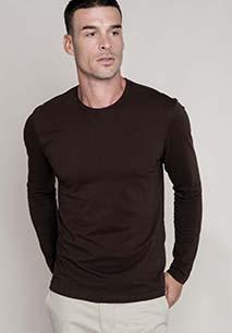 Men's long-sleeved crew neck T-shirt