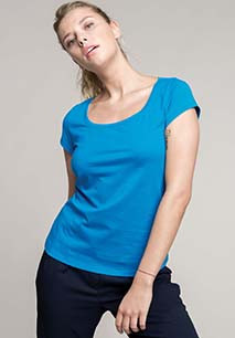 Ladies' boat neck short-sleeved T-shirt
