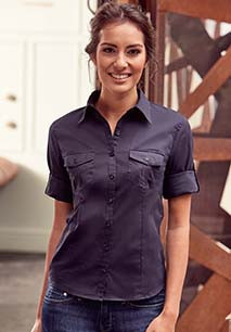 Ladies' Roll Sleeve Twill Shirt - 3/4 Sleeves