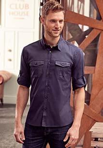 Men's Roll Sleeve Twill Shirt - Long-Sleeved