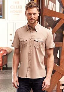 Men's Roll Sleeve Twill Shirt - Short-Sleeved