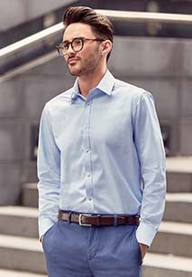 Men's Long-Sleeved Herringbone Shirt