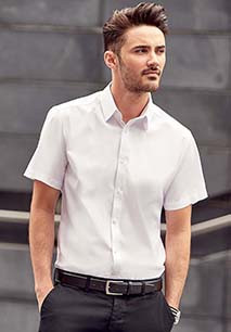 Men's Short-Sleeved Herringbone Shirt
