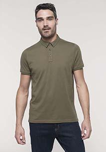 Men's short sleeved jersey polo shirt