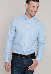 Long-sleeved washed Oxford cotton shirt