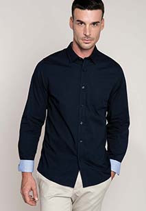 Long-sleeved washed cotton poplin shirt