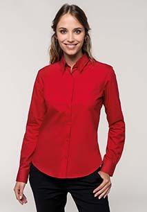 Ladies' long-sleeved cotton poplin shirt