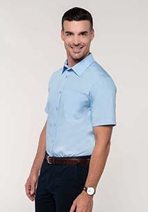 Men's short-sleeved cotton poplin shirt