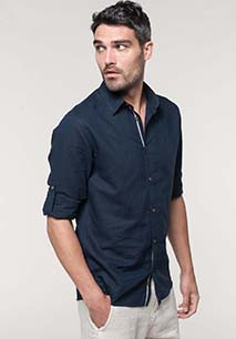Men's long sleeve linen and cotton shirt