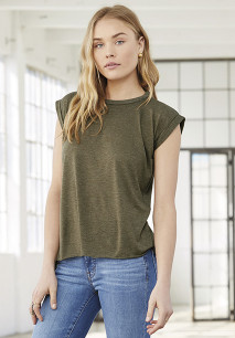 Ladies' flowy rolled-cuff T-shirt