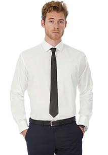 Men's Long-Sleeved Black Tie Stretch Shirt