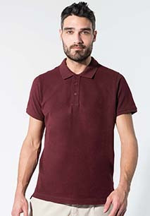 Men's organic piqué short-sleeved polo shirt