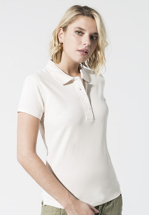 Ladies' organic piqué short-sleeved polo shirt