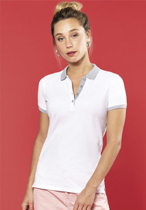 Ladies' two-tone piqué polo shirt