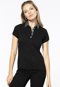 Ladies' two-tone jersey polo shirt