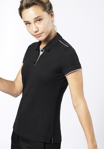 Ladies' short-sleeved contrasting DayToDay polo shirt