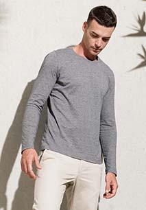 Men's organic cotton crew neck long-sleeved T-shirt