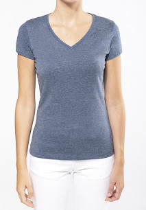 Ladies' V-neck short-sleeved melange T-shirt