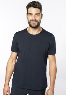 Men's short-sleeved organic t-shirt with raw edge neckline