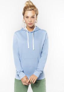 Ladies' contrast hooded sweatshirt