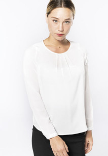 Ladies' long-sleeved crepe blouse