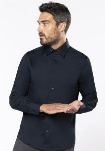 Long-sleeved cotton/elastane shirt