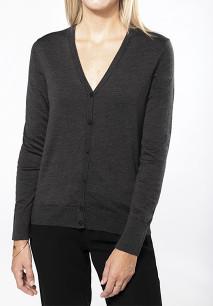 Ladies' merino wool button front cardigan