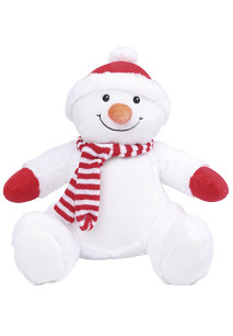 Zipped snowman cuddly toy