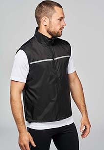 Running gilet with mesh back