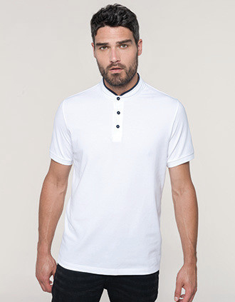 Men's short-sleeved polo shirt with Mandarin collar