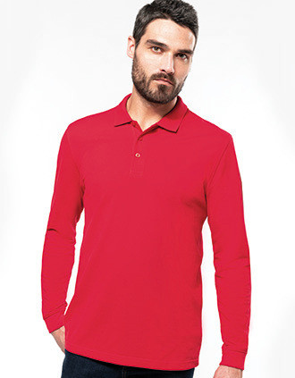 Men's long-sleeved piqué polo shirt