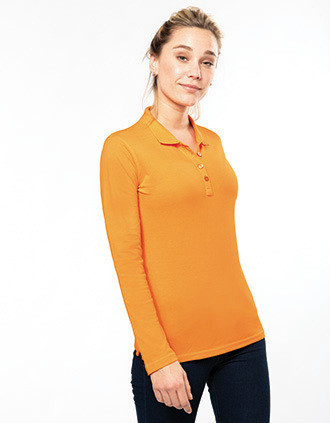 Ladies' long-sleeved piqué polo shirt