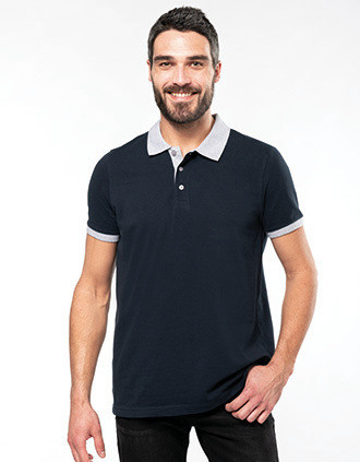 Men's two-tone piqué polo shirt