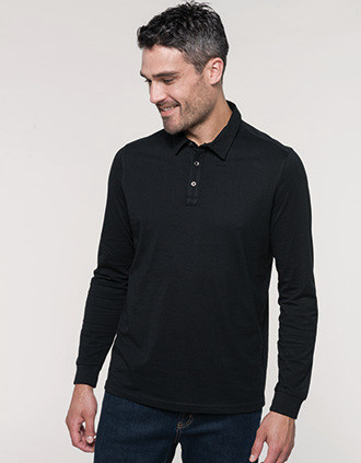 Men's long sleeved jersey polo shirt