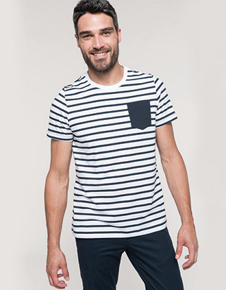 Striped short sleeve sailor t-shirt with pocket