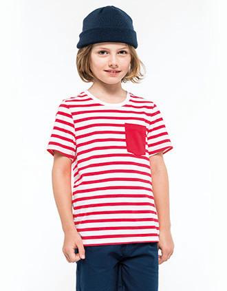 Kids' striped short sleeve sailor t-shirt with pocket