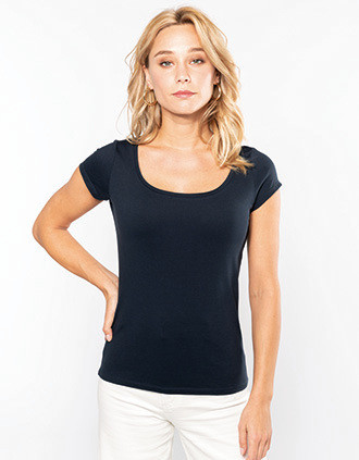 Ladies' boat neck short-sleeved T-shirt