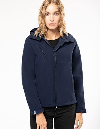 Ladies' detachable hooded softshell jacket