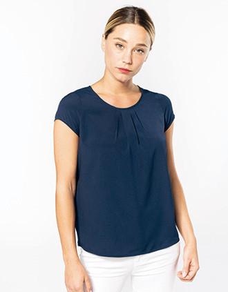 Ladies' short-sleeved crepe blouse