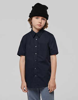 KIDS' SHORT-SLEEVED COTTON POPLIN SHIRT