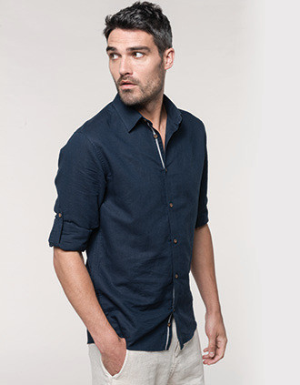 Men's long sleeve linen and cotton shirt