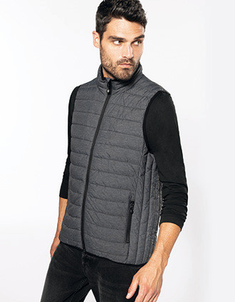 Men's lightweight sleeveless fake down jacket