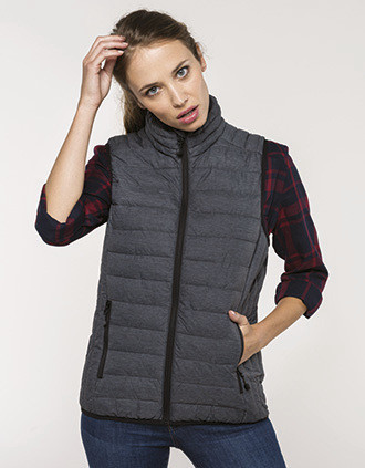 Ladies' lightweight sleeveless fake down jacket