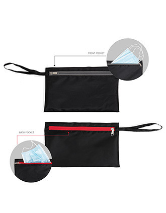 Double compartment pouch, one with waterproof fabric