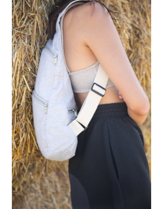 Recycled backpack with anti-theft back pocket